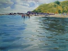 Ballymoney from water (katekos) Tags: water watercolour watercolor watercolors akwarela art painting reflections ballymoney beach seascape sea irish courtown ireland swim