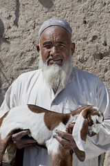 Man with goat 3619 (shahidul001) Tags: people man male elderly old aged pakistani beard calf goatcalf vertical portrait color colour day daylight quetta pakistan southasia asia drik drikimages balochistan