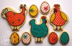chickens & eggs cookies (RebeccaSutterby) Tags: birthday orange chickens chicken cookies yellow coral easter teal egg funky calico eggs icing polkadot glace decorated