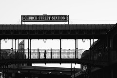 Running Over Church Street (ahh.photo) Tags: bridge urban blackandwhite bw silhouette orlando highway downtown cityscape child florida district running historic fujifilm across churchstreetstation xt1 xf56mmf12r