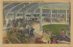 AMUSEMENT PARK Eculid Beach OH THe Great American Racing Derby Carousel  MERRY GO ROUND a ride a simulated horse race is now The Cedar Downs Racing Derby at Cedar Point in Sandusky OH (UpNorth Memories - Donald (Don) Harrison) Tags: railroad travel carnival heritage history tourism vintage antique michigan postcard memories restaurants depot amusementpark rollercoaster hotels trailer carosel roadside upnorth merrygoround cafes attractions motels cottages cabins campgrounds upnorthmemories rppc wonders michigan michigan memories parks entertainment natural harrison pure roadside travel don tourist puremichigan stops upnorth
