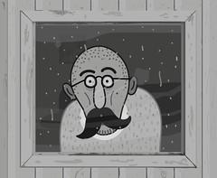 (amasa menachem  ) Tags: old portrait man window rain glasses frame anticipation mustache vector amasamenachem zifim