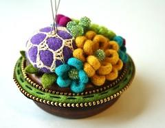 Woolly pincushion (woolly  fabulous) Tags: roses flower green wool daisies crochet zipper pincushion beaded woollyfabulous