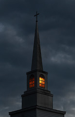 Steeple (davidwilliamreed) Tags: blue light church clouds availablelight steeple hour unitedmethodistchurch mountaincityga
