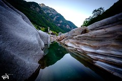 Lavertezzo (Verzasca) (Funkraft) Tags: verzasca water church morning outdoor longtimeexposure rocks valley tal switzerland tessin ticino lavertezzo madonna degli angeli lago maggiore river