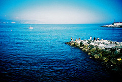 Return to shore (Stephen Dowling) Tags: travel summer italy film 35mm xpro crossprocessed sanremo cosinacx2 agfact100precisa