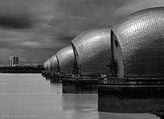 The Thames Barrier (Andrew Paul Watson) Tags: longexposure england white black london water thames gate britain engineering fujifilm barrier mon floods xt1 16stop andrewpaulwatson