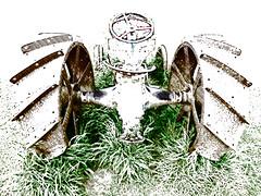Tractor Tracks (Steve Taylor (Photography)) Tags: newzealand brown white tractor green art texture field grass digital farm seat nelson machinery nz southisland highkey steeringwheel