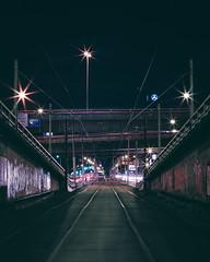 Patiently waiting (lucidddreamin') Tags: longexposure urban cold cars night 50mm mercedes nightlights traffic tram melbourne citylights nightsky lighttrails clearsky lighttrail coldnight longexposureoftheday
