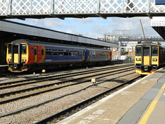 156406 & 153385 stand at lincoln (The Rail Enthusiast) Tags: class 153 class153 linconshire leicester newark 156406 153385 lincoln emt east midlands trains grimsby