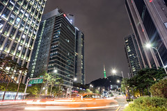 N.Seul Tower from Myeongdong (Ricky Reardon) Tags: myeongdong   nseoul tower north time lapse street urban photography city seoul       tourism long exposure cityscape night streaks korea asia voigtlander 20mm outdoor namsan lights