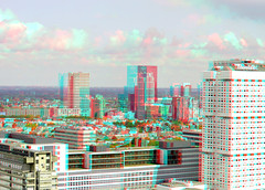 Rotterdam 3D (wim hoppenbrouwers) Tags: anaglyph stereo redcyan view from euromast rotterdam 3d erasmusmc city