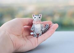 tiny tabby cat (free_dragonfly) Tags: miniature toys animals cute cats gray tabby handmade polymer clay