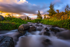 Mayon (rommelferrer) Tags: canon long exposure sunset 1740mm mountains mayon legazpi philippines water rocks daraga clouds cone river