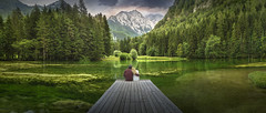 Green in my eyes and blues in my heart (Titanium007) Tags: slovenia slovenija jezersko green lake mountains reflection reflections nature natural landscape wallart fineart panoramic panorama horizontal wide boardwalk pines alps slovenskiturizem