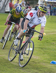 Just In Front (Geoff France) Tags: cycle fixedgear cycleracing bikeracing bicycle bicycleracing grantownonspey highlandgames grantown spey highland gameshighlandsscottish highlandscairngormscairngorms national parkgrassgrass track