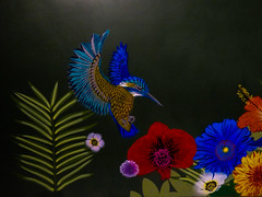 No Bees (Steve Taylor (Photography)) Tags: bird kingfisher fern poppy landing flying art graffiti mural stencil blue green red orange newzealand nz southisland canterbury christchurch city leaves festival ymca spectrum flox