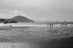 Taking it all in (andreagarritypdx) Tags: ocean sky blackandwhite bw beach water oregon canon coast sand oregoncoast 50mm18 blackandwhitefilm