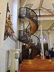 Loretto Chapel and the mysterious staircase (phxdailyphotolady) Tags: newmexico santafe church stairs prayer chapel sacred mysterious blessed lorettochapel carpenter craftsmanship