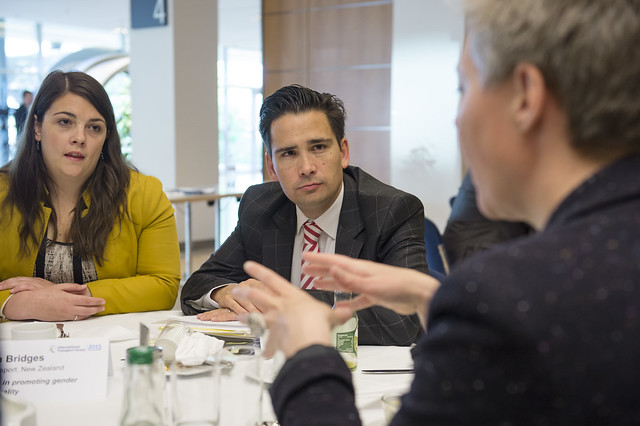 Simon Bridges listens to an attendee