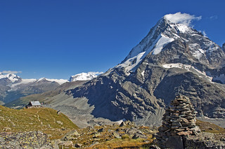 The cabane of Schönbielhütte  and the Matterhorn. Zermatt. No. 9608.