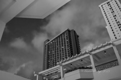 At the Marriott Waikiki Beach Resort and Spa Hotel (Victor Wong (sfe-co2)) Tags: white black beach monochrome marriott hotel pacific waikiki basin resort international congress conference spa chemical 2015 societies pacifichem