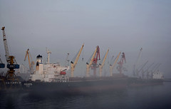Aquata misty morning 1 (PhillMono) Tags: morning travel mist reflection fog boat dock nikon ship harbour vessel tourist cargo morocco casablanca dslr freighter d7100 aquata