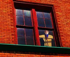 I gotta get outta here (SCOTTS WORLD) Tags: blue windows light shadow ohio summer brown sunlight man building brick green art texture abandoned june architecture digital america fun artwork whimsy midwest angle pov decay perspective panes panasonic adventure toledo shade ledge weathered tones whimsical 2016 jaygraves detroitderek