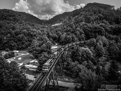Pushers in Slab Fork, WV (Brandon Townley) Tags: slabfork bridge drone train railroad blackandwhite dji ns norfolksouthern mountains westvirginia