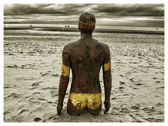 Another Place, at Crosby Beach (Dave Moseley Photography) Tags: crosbybeach sculpture beach sea coloursplash splashesofcolour anotherplacesculpturesbyantonygormley anotherplace merseyside davemoseleyphotography sirantonygormley art