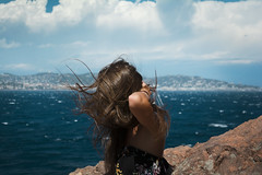 Lisa (ric_rbn) Tags: portrait portra gilr woman sun summer sunshine sea cliff wind blow france frenchriviera freedom youth