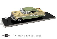 1956 Chevrolet 210 4-Door Hardtop (lego911) Tags: chevrolet chevy chev 1956 210 1960s 4door hard top hardtop classic 1950s trifive auto car moc model miniland lego lego911 ldd render cad povray lugnuts challenge 107 saturdaymorningshownshine saturday morning show n shine usa america v8 chrome