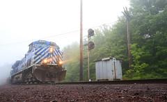 Foggy Weigher (GLC 392) Tags: eagle mills mi michigan negaunee ge trees 7 0700 7am lake superior ishpeming railroad railway train iron ore fog junction jct ac4400cw ac44cw citx cefx leaser 1015 1013 weigher