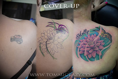 small frame 9x6  cover up lotus auntie (Tommicrazy Tattoos) Tags: uk flowers art up tattoo ink manchester lotus body cover oriental bodyart coverup middleton lotos tommicrazy