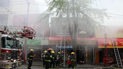 Vancouver 3rd Alarm Chinatown Fire (bcfiretrucks) Tags: white canada water hat vancouver radio fire media chinatown bc chief smoke engine scene hose crime ladder blaze incident department command officer pender quint fireifhgter