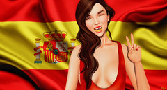 ¡hasta la vista! (♛ Baronne ♛) Tags: red smile face yellow jaune french fun rouge 3d spain tank expression flag sl spanish secondlife mad visage mademoiselle drapeau gizza slink lelutka