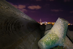The Sign of the Cross (Manol Z. Manolov) Tags: city travel sea sky color water skyline night clouds photography lights europe cityscape cross bulgaria blacksea nesebar    manolmanolov