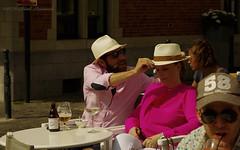 Portrait (Natali Antonovich) Tags: brussels portrait beer hat cafe couple mood belgium belgique belgie pair hats lifestyle together bier tradition relaxation terras belgianbeer sablon heandshe dezavel sweetbrussels