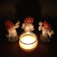 Ceramic Jack O Lantern ghosts (the ghost in you) Tags: halloween thriftstore pumpkin horror jackolantern fall autumn october fire candle
