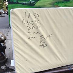 the super for 340 (molybdena) Tags: words trash manhattan hydrant newyorkcity newyork boxspring lowermanhattan eastvillage