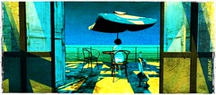 A drink with pelicans (La Baroque (Laura) thnx for your favs) Tags: bardeco woman girl pelican umbrella shadow table chair yellow blue