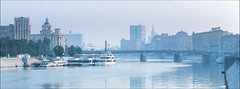 Russia. Moscow. View on Borodinsky Bridge. (Yuri Degtyarev) Tags: russia moscow borodinsky bridge river morning russian federation leica vlux 114 typ114        cokin p120    moscou russie moskova architecture waterfront water outdoor landscape city  panorama