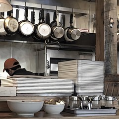 Open Kitchen (Renee Rendler-Kaplan) Tags: cook kitchen trays bottles pots pans bowls openkitchen indoors inside restaurant highwoodillinois jaylovells iphone iphoneography july 2016 reneerendlerkaplan beam post baseballcap sheridanroad syrupbottles