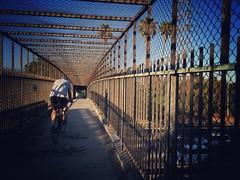Crossover (Echo_29) Tags: pedestrianbridge cyclinglosangeles atwater cyclist roadbike 5freeway interstate5 goldenstatefreeway