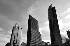 Potsdamer Platz (Josh C. F.) Tags: germany berlin platz potsdamer potsdamerplatz europe eu blackandwhite blackwhite building buildings architecture glass brick nikon nikond3300 d3300 downtown