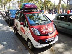 2016 Mongol Rally Indian-reg Tata Nano, Barcelona, Spain