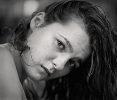 Miss Sylina's Bad Hair Day (Joe Iannandrea) Tags: blackandwhite ishootfilm portrait girl mamiyarb67pros 127mmf38sekorc fujiacros pmkpyro epsonv500 beauty youth