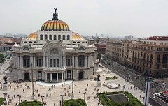 Palacio de Bellas Artes form the cafe on the 8th floor of the Sears building. (Shandchem) Tags: mexico city centre palacio de bellas artes form cafe 8th floor sears building