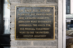 Kingston 098 - On this site.... (cbonney) Tags: kingston new york this site education department social comment commentary tobacco addiction cigarette