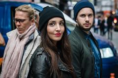 Woolly Hats (jonron239) Tags: londonfashionweek man woman boy girl smile longhair brunette expression leatherjacket